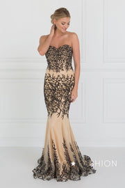Blue/Nude Strapless Beaded Mermaid Gown by Elizabeth K GL2055-Long Formal Dresses-ABC Fashion