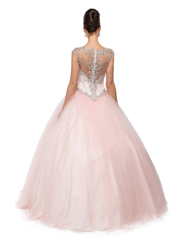 Blush Pink Beaded Illusion A-line Ball Gown by Dancing Queen 1104-Quinceanera Dresses-ABC Fashion