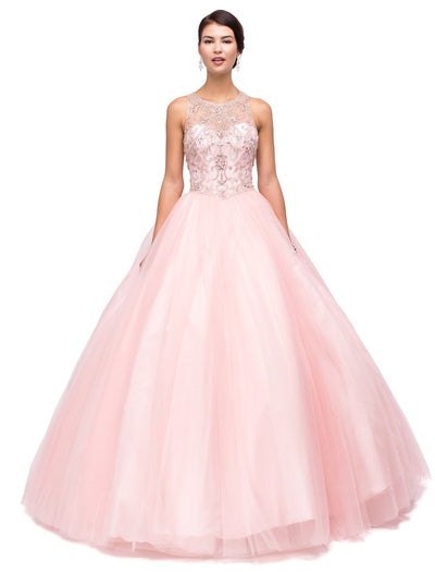 Blush Pink Beaded Illusion A-line Ball Gown by Dancing Queen 1160-Quinceanera Dresses-ABC Fashion