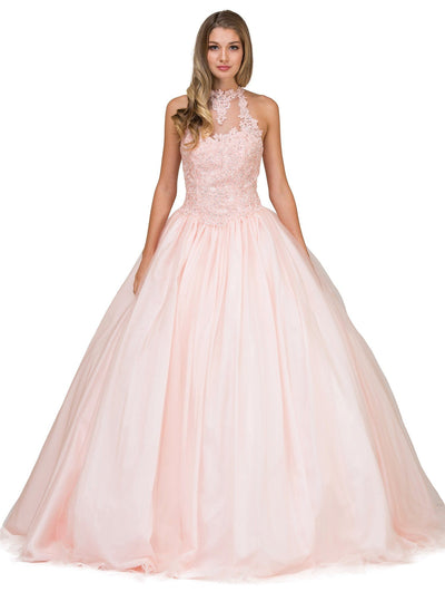 Blush Pink Lace Halter A-line Ball Gown by Dancing Queen 1173-Quinceanera Dresses-ABC Fashion