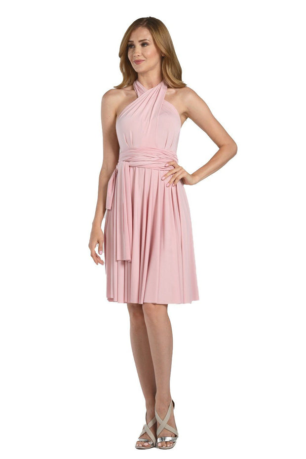 Blush Pink Short Convertible Jersey Dress by Poly USA-Short Cocktail Dresses-ABC Fashion