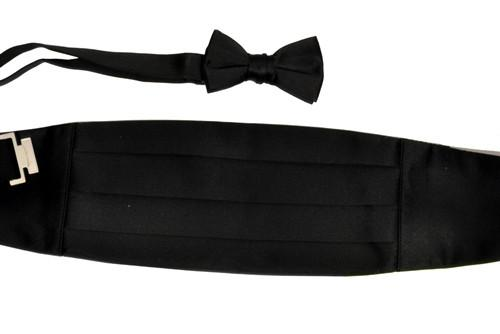 Boys Black Cummerbund and Bow Tie Set-Boys Cummerbund-ABC Fashion