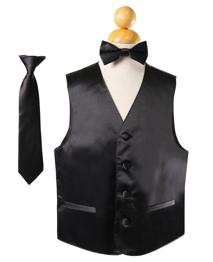 Boys Black Satin Vest with Neck Tie and Bow Tie-Boys Vests-ABC Fashion