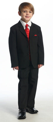Boys Black Suits with Burgundy Vest, Dress Shirt, Tie-Boys Formal Wear-ABC Fashion