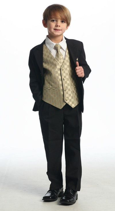 Boys Black Suits with Gold Vest, Dress Shirt, Tie-Boys Formal Wear-ABC Fashion