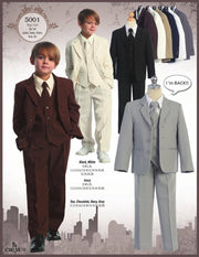 Boys Brown Suits with Tie, Vest, and Dress Shirt-Boys Formal Wear-ABC Fashion