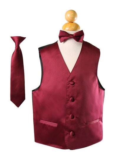 Boys Burgundy Satin Vest with Neck Tie and Bow Tie-Boys Vests-ABC Fashion