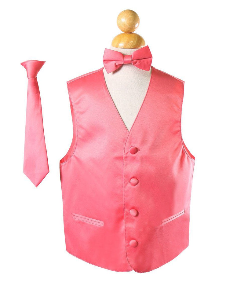 Boys Coral Satin Vest with Neck Tie and Bow Tie-Boys Vests-ABC Fashion