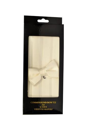 Boys Cream Cummerbund and Bow Tie Set-Boys Cummerbund-ABC Fashion