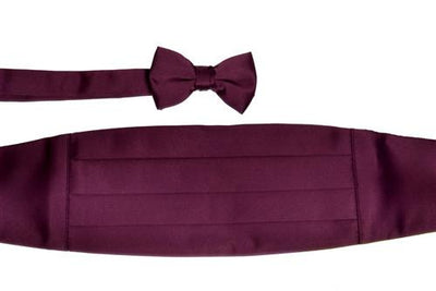 Boys Eggplant Cummerbund and Bow Tie Set-Boys Cummerbund-ABC Fashion
