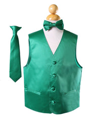 Boys Emerald Green Satin Vest with Neck Tie and Bow Tie-Boys Vests-ABC Fashion
