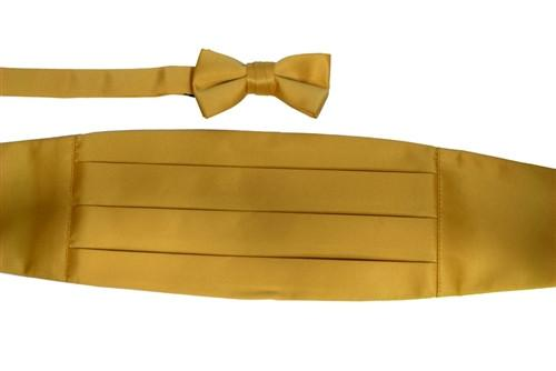Boys Gold Cummerbund and Bow Tie Set-Boys Cummerbund-ABC Fashion