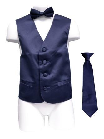 Boys Navy Blue Satin Vest with Neck Tie and Bow Tie-Boys Vests-ABC Fashion