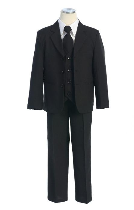Boys Navy Blue Suits with Tie, Vest, and Dress Shirt-Boys Formal Wear-ABC Fashion