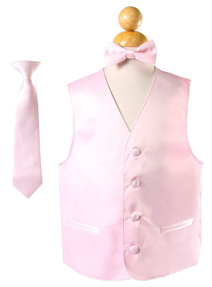 Boys Pink Satin Vest with Neck Tie and Bow Tie-Boys Vests-ABC Fashion