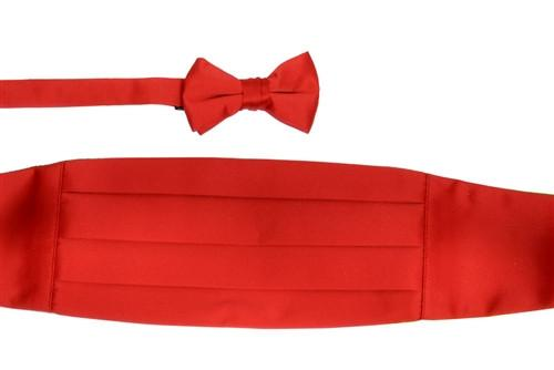 Boys Red Cummerbund and Bow Tie Set-Boys Cummerbund-ABC Fashion