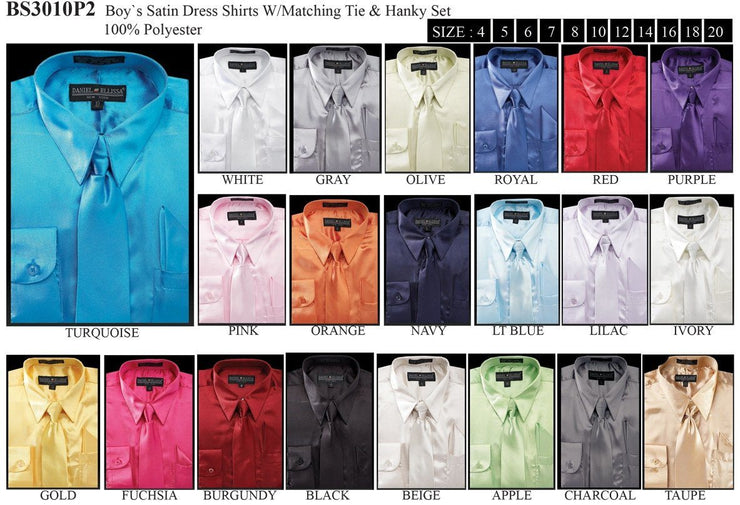 Boys Satin Dress Shirts with Neck Tie and Hanky-Boys Dress Shirts-ABC Fashion