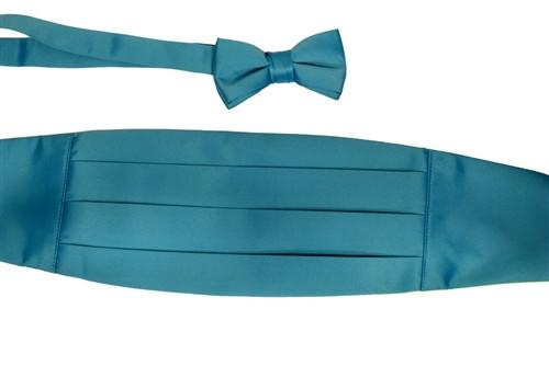 Boys Turquoise Cummerbund and Bow Tie Set-Boys Cummerbund-ABC Fashion