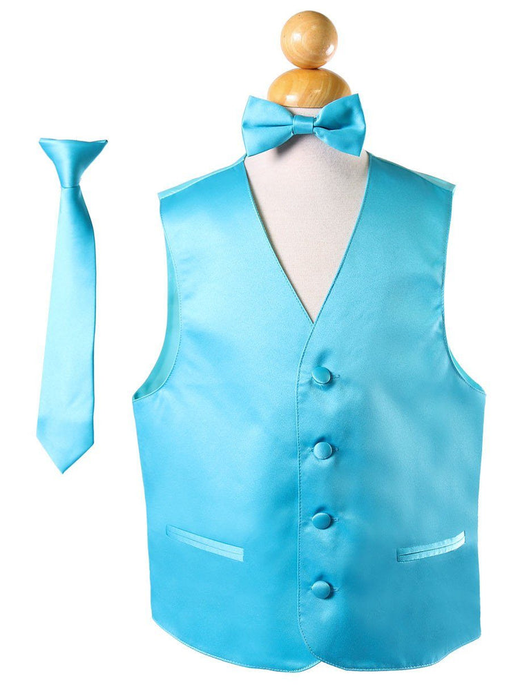 Boys Turquoise Satin Vest with Neck Tie and Bow Tie-Boys Vests-ABC Fashion