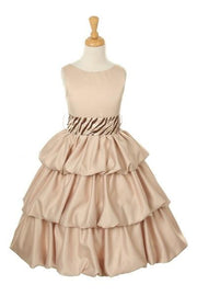 Brown Flower Girl Dresses with Turquoise Zebra Sash-Girls Formal Dresses-ABC Fashion