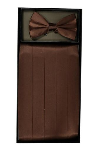 Brown Silk Satin Cummerbund and Bow Tie Set-Men's Cummerbund-ABC Fashion