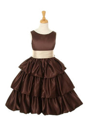 Brown Tea Length Flower Girl Dresses with Sash-Girls Formal Dresses-ABC Fashion