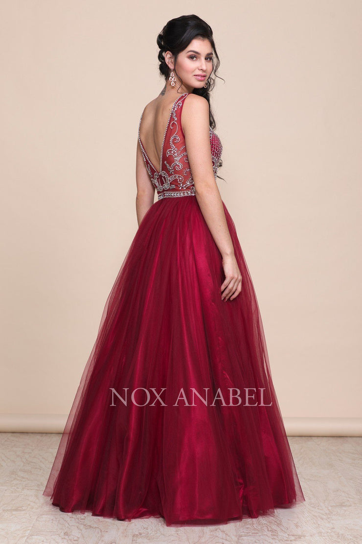 Burgundy A-Line Ball Gown with Beaded Bodice by Nox Anabel G087-Long Formal Dresses-ABC Fashion