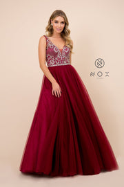 Burgundy A-Line Ball Gown with Beaded Bodice by Nox Anabel G087