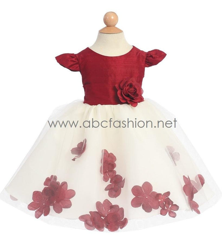 Burgundy Baby Girl Silk Dress with Flower Tulle Skirt-Girls Formal Dresses-ABC Fashion