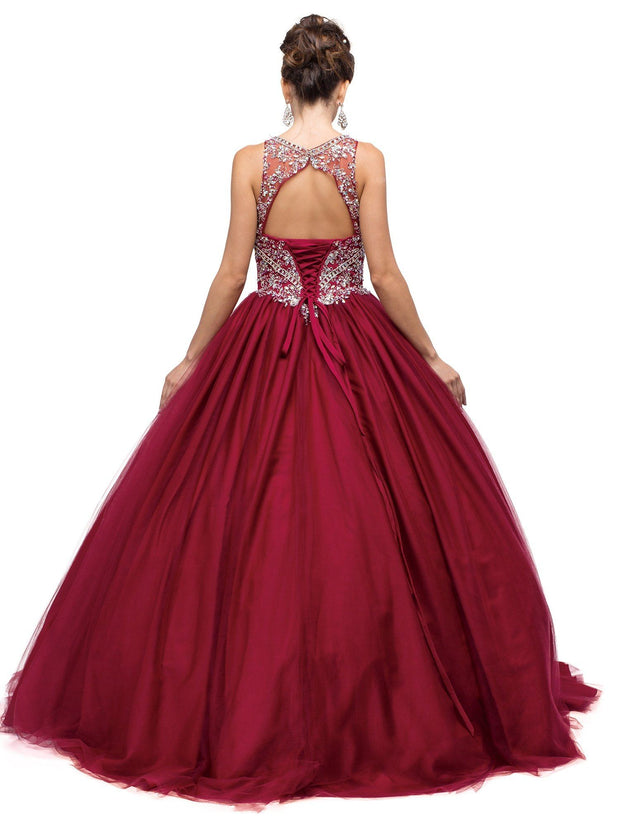 Burgundy Beaded Illusion A-line Ball Gown by Dancing Queen 1146-Quinceanera Dresses-ABC Fashion