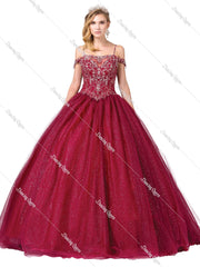 Burgundy Cold Shoulder Glitter Ball Gown by Dancing Queen 1394-Quinceanera Dresses-ABC Fashion