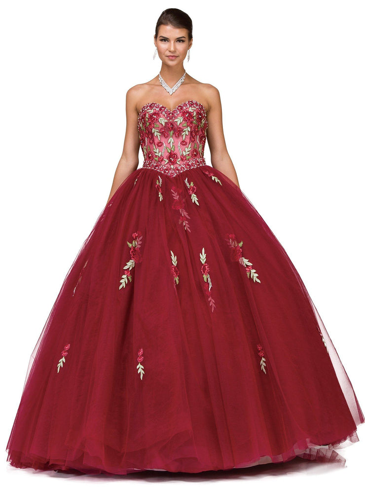 Burgundy Floral Appliqued Strapless Ball Gown by Dancing Queen 1178-Quinceanera Dresses-ABC Fashion