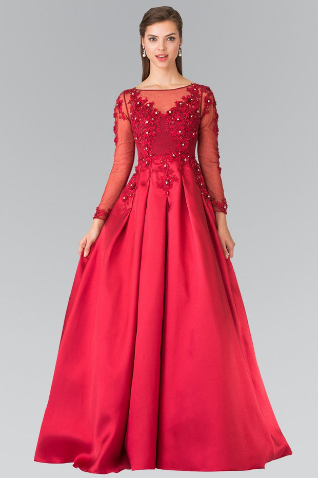 Burgundy Gown with Sheer Long Sleeves by Elizabeth K GL2255-Long Formal Dresses-ABC Fashion