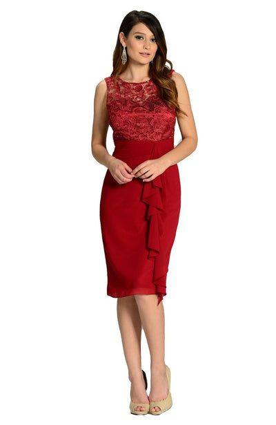 Burgundy Knee Length Chiffon Dress with Lace Top by Poly USA-Short Cocktail Dresses-ABC Fashion