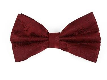 Burgundy Paisley Bow Ties with Matching Pocket Squares-Men's Bow Ties-ABC Fashion