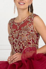 Burgundy Ruffled Ball Gown with Beaded Top by Elizabeth K GL1556-Quinceanera Dresses-ABC Fashion