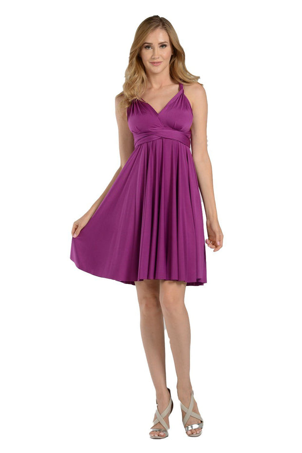 Burgundy Short Convertible Jersey Dress by Poly USA-Short Cocktail Dresses-ABC Fashion