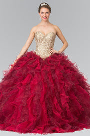 Burgundy Strapless Ruffled Ballgown by Elizabeth K GL2211-Quinceanera Dresses-ABC Fashion