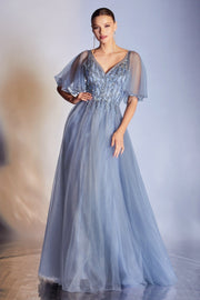 Butterfly Sleeve Glitter Gown by Cinderella Divine CD0175
