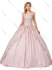 Cap Sleeve Ball Gown with Beaded Embroidery by Dancing Queen 1343-Quinceanera Dresses-ABC Fashion