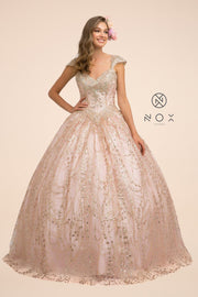 Cap Sleeve Glitter Mesh Ball Gown by Nox Anabel U803
