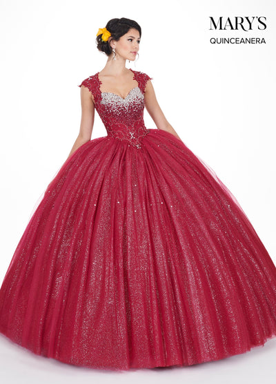 Cap Sleeve Glitter Quinceanera Dress by Mary's Bridal MQ1031-Quinceanera Dresses-ABC Fashion