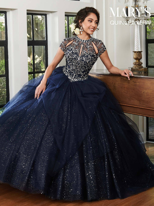Cap Sleeve Glitter Quinceanera Dress by Mary's Bridal MQ2039-Quinceanera Dresses-ABC Fashion