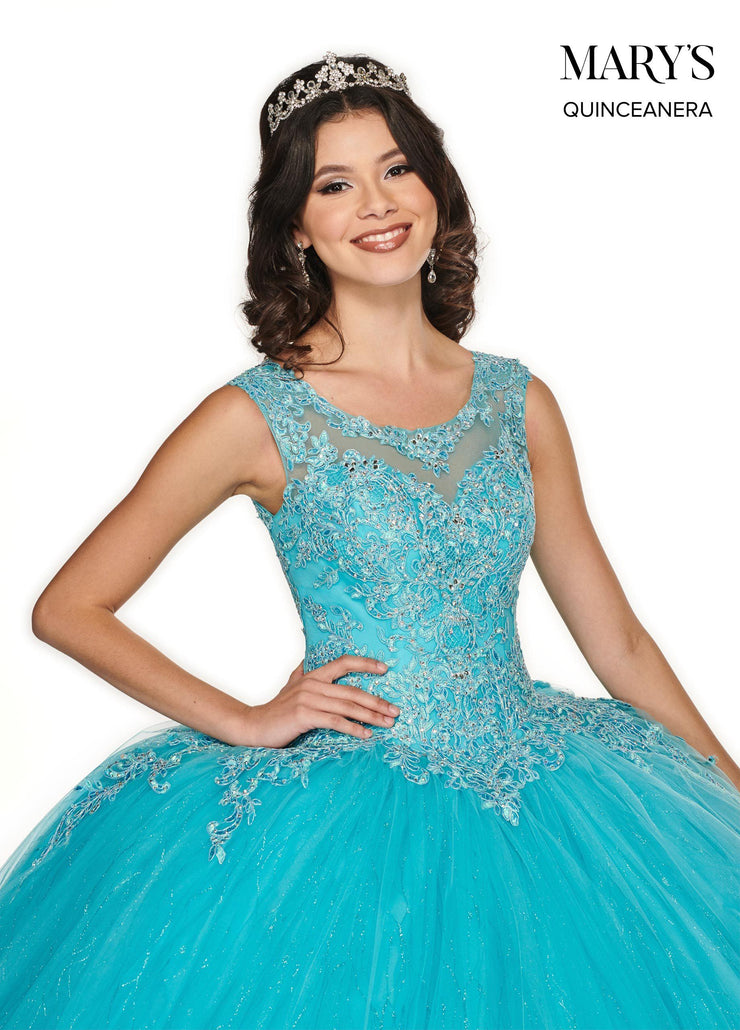 Cap Sleeve Glitter Quinceanera Dress by Mary's Bridal MQ2080-Quinceanera Dresses-ABC Fashion