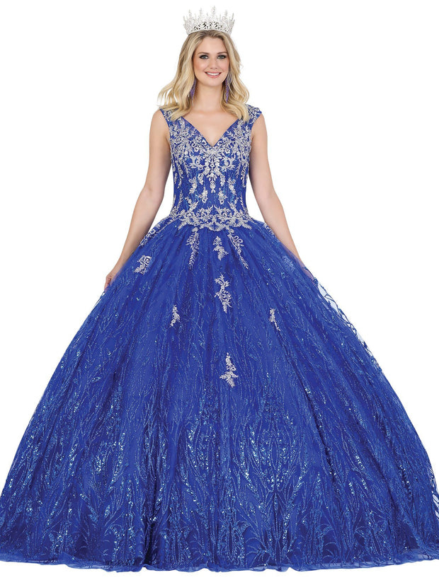 Cap Sleeve Glitter Tulle Ball Gown by Dancing Queen 1472