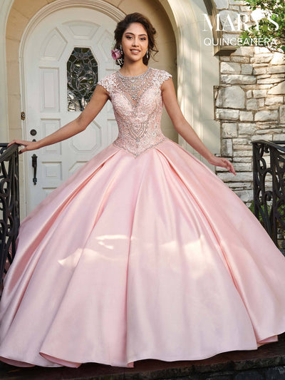 Cap Sleeve Lace Quinceanera Dress by Mary's Bridal MQ2025-Quinceanera Dresses-ABC Fashion