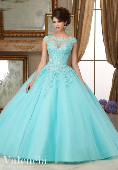 Cap Sleeve Lace Quinceanera Dress by Mori Lee Valencia 60006-Quinceanera Dresses-ABC Fashion