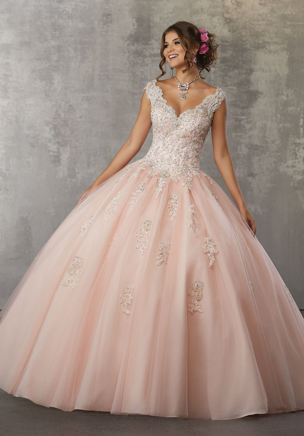 Cap Sleeve Lace Quinceanera Dress by Mori Lee Valencia 60033-Quinceanera Dresses-ABC Fashion