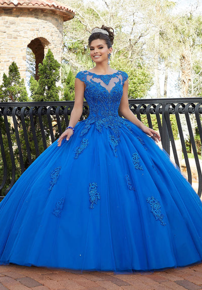 Cap Sleeve Lace Quinceanera Dress by Mori Lee Valencia 60092-Quinceanera Dresses-ABC Fashion