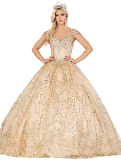 Cap Sleeve Sweetheart Glitter Ball Gown by Dancing Queen 1397